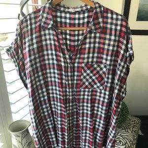Maurice's. Plaid Summer Button-Down Blouse. 2X